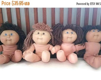 Cabbage patch kids, 1991 Hasbro, Pretty Crimp N Curl baby dolls, dimples, lot of 4 Cabbage Patch dolls, Appalachian Artworks, clean