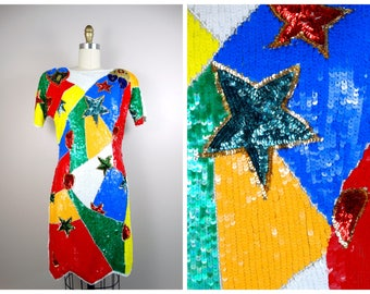 RARE Bright Sequined Beaded Dress // Hearts & Stars Sequin Dress // Fully Embellished Color Block Dress