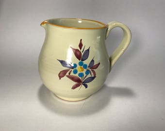 Vintage Pottery Pitcher Made In Italy Hand Painted Flowers Signed 4307 Italy Unbranded