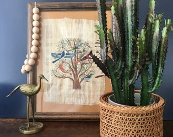 vintage Papyrus painting Tree of Life Egyptian boho decor
