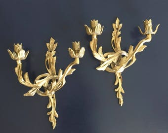 vintage ornate brass wall candle sconce pair hollywood regency glam