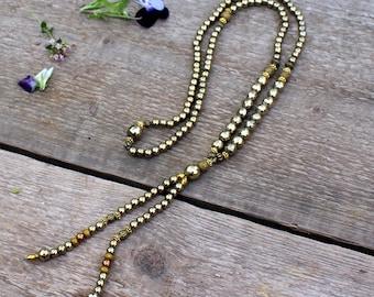Beautiful faceted pyrite/hematite gemstone mala necklace