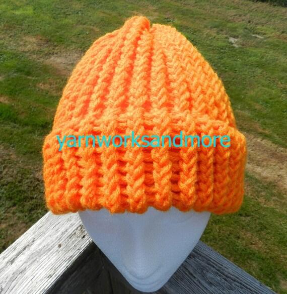 Orange Knit Hat, Loom Knit Hat, Knit Hat, Orange Beanie, Knit Cap, Warm Hat, Winter Hat,  Bright Orange Hat, Unisex Hat, Gifts Under 20