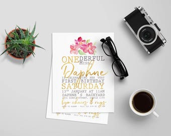 ONEderful Minimalist First Birthday | Birthday Invitation | Digital Invitations | 1st Birthday | Girl | Personalised | Printable