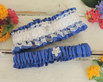 Garter set wedding garter prom garter royal blue and white garter something blue wedding accessories throw garter keepsake garter