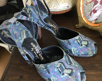 Vintage 1940s Novelty Print Pumps / Vintage 40s Peep Toe Shoes / Amazing 40s Heels Size 6