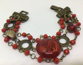 Red Antique Bronze Bracelet