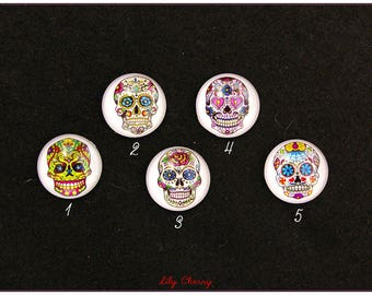 Cabochon skull skull mexican sugar skulls pin up rockabilly x 1
