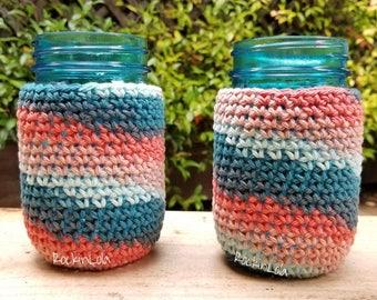 cotton mason jar cozy - non-slip sleeve - pint 16oz - fits wide mouth & regular mouth jar - coffee cozy - tea cozy - handmade by RockinLola