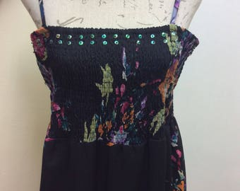 Gorgeous floral print summer maxi dress with an embelished neckline