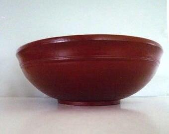 Antique Norwegian Wood Bowl - Handmade Clay Brown Wood Vintage Scandinavian
