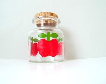 Sea Glasbruk Glass Jar - Vintage apple glass jar cork top Red apple Vintage 1970s