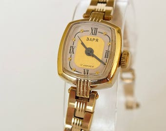 Mechanical Womens Watch Bracelet Zaria 17 Jewels. Vintage Gold Plated Ladies Watch 70s. Small Mechanical Wrist Watch For Women. Gift For Her
