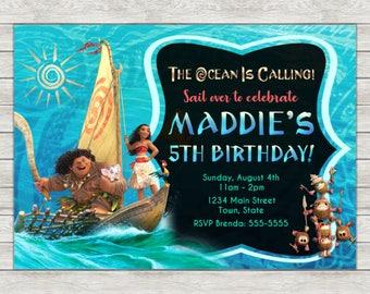 Moana Birthday Invitation, Moana Maui Birthday Invitation - Digital File (Printing Services Available)