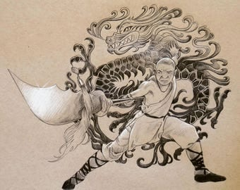ORIGINAL DRAWING Chinese Dragon Kung Fu Martial Art Warrior Shaolin Monk Pencil Figure Drawing 8x10 Inches