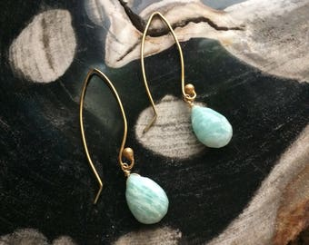 Long Amazonite Drop Earrings