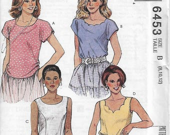McCall's 6453 Size 8-10-12 Bust 31 1/2-34 Misses' Tops Cap/Sleeveless Overarm Stitched Notched Detail Scalloped Neckline Sewing Pattern UC