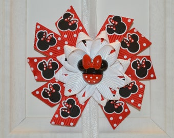 Red and Black Minnie Mouse Bow