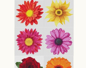 Cross Stitch Pattern PRINTED Set Flower Series, Floral Cross Stitch (Book02)