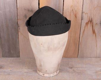 Vintage Black Felt Boys Charm Beanie Fraternity Cap