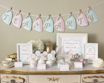 Tea Party Baby Shower Printable Set Decorations: Classic Shabby Chic Designs - Pink, Mint, & Gold Pack - Invitations, Cupcake Topper, Banner