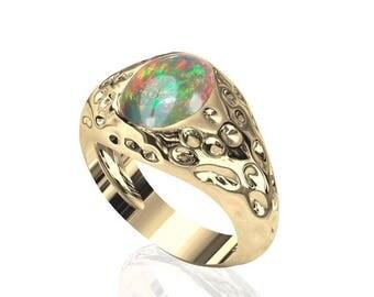 10x8mm Prime Natural Australian Black Opal Ring in 14K or 18K Gold 1.75TCW Sku: R2268