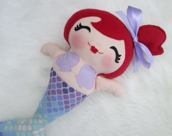 Mermaid Doll, Red Hair and Purple Scalloped Outfit, Mermaid Toy, Under the sea, the little mermaid, mermaid birthday, Made to Order