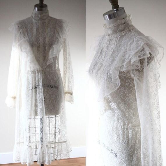 1970s floral lace dress  // 1970s white sheer dress // vintage white dress