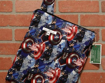 Cloth Diaper Wetbag, Comics, Captain America, Pail Liner, Diaper Bag, Day Care Size, Holds 5 Diapers, Size Medium with Handle item #M68