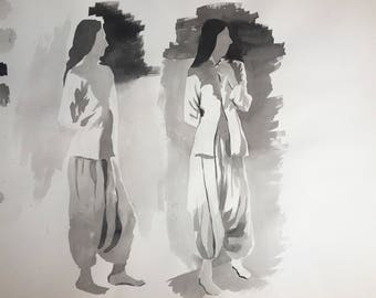 Sumi Ink Painting of Man Standing Twice