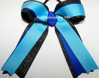 Gymnastics Bow, Turquoise Blue Black Clip, Sparkly Gymnastic Glitter Ribbons, Gymnast Hair Ties Elastics, Dance Cheer Bow, Bulk Cheap Prices
