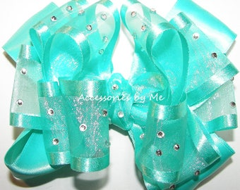 Aqua Hair Bow, High Glitz Teal Clip, Blue Green Organza Satin Hair Bow, Flower Girl Bow, Glitz Pageant Bow Barrette, Aqua Teal Baby Bow Band