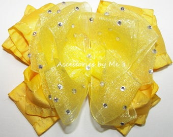 Glitzy Yellow Bow, Bright Yellow Hair Clip, Yellow Gold Ruffle Ribbon Bow, High Glitz Pageant Barrette, Princess Belle Yellow Bow Baby Bands