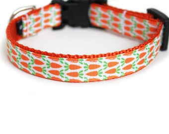 Easter Dog Collar, Small Dog Collar for Girl or Boy, Carrots, Garden, Can be Personalized, Gift Box Included - Carrot Patch
