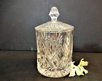 Vintage Lead Crystal Biscuit Barrel - Cut Crystal Cookie/Biscuit Jar with Lid - Crystal Storage Jar or Canister