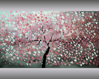 Acrylic Art Painting ,Red Cherry Blossoms, 72 x 40, Abstract Painting, Flowers, Large Painting Canvas Wall Art, FREE SHIPPING Ettis Gallery