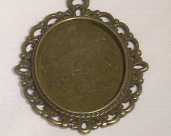 Oval cabochon Tibetan charm bronze 38mm