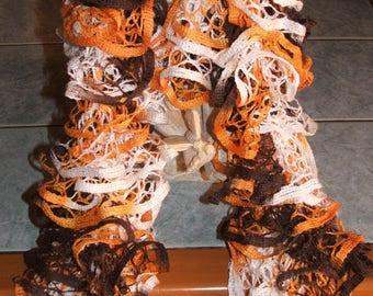 Handmade - Ruffle scarf - color orange, chocolate and cream