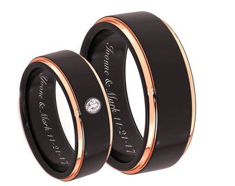 Engraved Promise Ring, Personalized Ring, Engraved Wedding Band, Tungsten Ring, Tungsten Wedding Band, Personalized Ring, Couples Ring Set