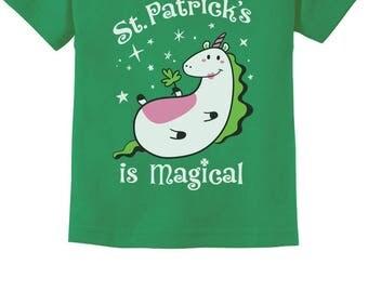 St. Patrick's Is Magical Irish Unicorn Toddler Kids T-Shirt