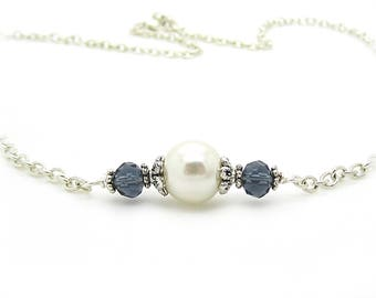 Ivory and Navy Bridesmaid Necklace, Navy Bridesmaid Sets, Dark Blue Bridal Necklace, Simple Pearl Sets, Bridal Party Gift, Crystal Jewellery