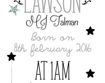 A Star is Born nursery print silver glitter new baby boy personalised