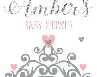Baby Shower personalised prints silver glitter crown + guess when the baby is due calendar game