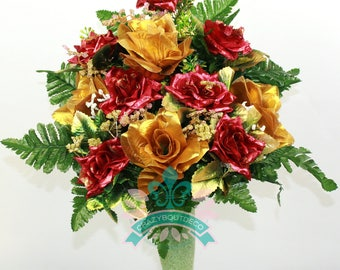 Gorgeous Christmas Roses Cemetery Arrangement For Mausoleum