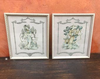 Pair of Vintage 1940s Framed Asian Oriental Male Female Prints. Framed Asian Couple Terone Print. oriental print asian Beautytone