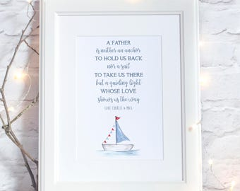 Father's Personalised Poem Print With Nautical Illustration Father's Day Gift