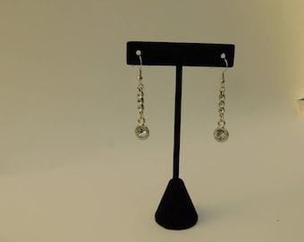 Silver Drop Crystal Earrings