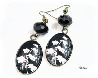 vintage black and bronze earrings BO527