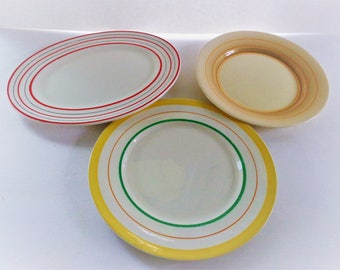 Stripe Border Plates Assorted Vintage 1940's Made in England Handpainted Plates