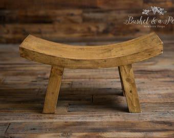 Sitter Wooden Stool-Newborn Photography Prop-Natural Wood
